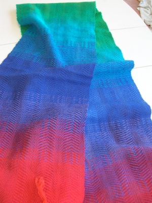 Warp painted rainbow scarf