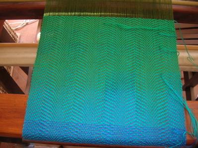 Rainbow scarf - jade into green